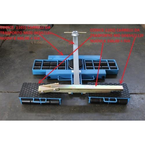 CODICE 1102 NUOVI CARRELLI DA TRASPORTO MOD 0654-12F CON RUOTE IN NYLON portata 12 Ton