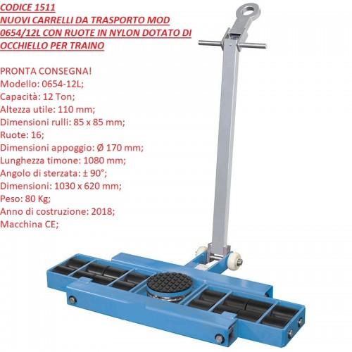 CODICE 1511 NUOVI CARRELLI DA TRASPORTO MOD 0654-12L CON RUOTE IN NYLON DOTATO DI OCCHIELLO PER TRAINO portata 10.000 kg